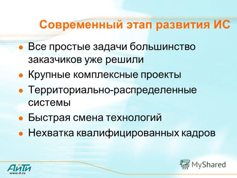 www.it.ru Современный этап развития ИС Все простые задачи большинство заказчиков уже решили Крупные комплексные проекты Территориально-распределенные системы Быстрая смена технологий Нехватка квалифицированных кадров