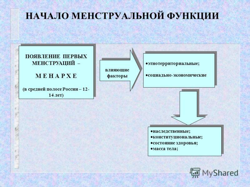 НАЧАЛО МЕНСТРУАЛЬНОЙ ФУНКЦИИ ПОЯВЛЕНИЕ ПЕРВЫХ МЕНСТРУАЦИЙ – М Е Н А Р Х Е (в средней полосе России – 12- 14 лет) ПОЯВЛЕНИЕ ПЕРВЫХ МЕНСТРУАЦИЙ – М Е Н А Р Х Е (в средней полосе России – 12- 14 лет) влияющие факторы влияющие факторы этнотерриториальные