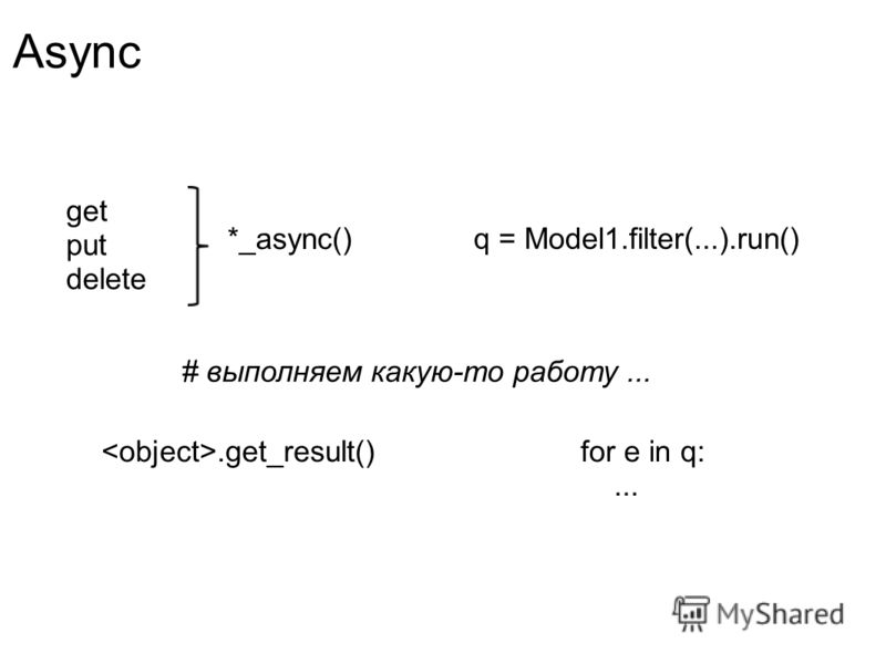 Async get put delete *_async() # выполняем какую-то работу....get_result() q = Model1.filter(...).run() for e in q:...