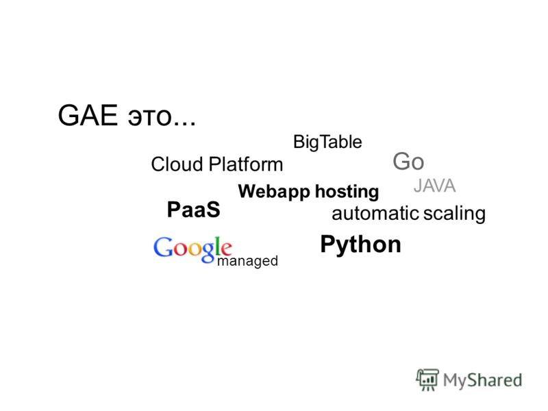 GAE это... PaaS Cloud Platform Webapp hosting managed automatic scaling BigTable Go JAVA Python