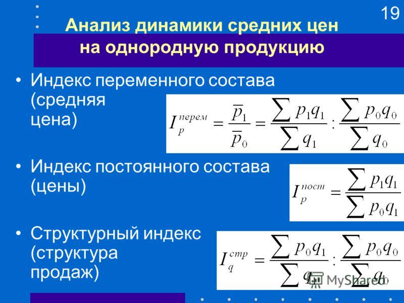 19 Анализ динамики средних цен на однородную продукцию Индекс переменного состава (средняя цена) Индекс постоянного состава (цены) Структурный индекс (структура продаж)