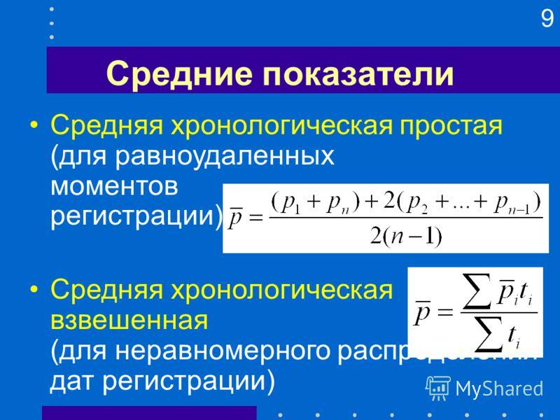 9 Средние показатели Средняя хронологическая простая (для равноудаленных моментов регистрации) Средняя хронологическая взвешенная (для неравномерного распределения дат регистрации)