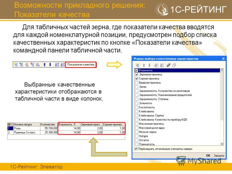 Возможности прикладного решения: Показатели качества 1С-Рейтинг: Элеватор 1С-РЕЙТИНГ Для табличных частей зерна, где показатели качества вводятся для каждой номенклатурной позиции, предусмотрен подбор списка качественных характеристик по кнопке «Пока