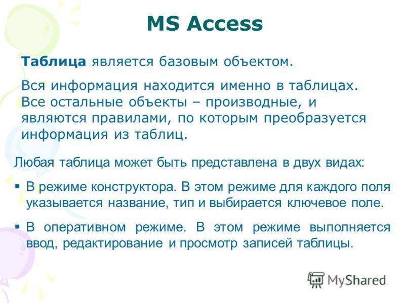 MS Access Таблица является базовым объектом. Вся информация находится именно в таблицах. Все остальные объекты – производные, и являются правилами, по которым преобразуется информация из таблиц. Любая таблица может быть представлена в двух видах: В р