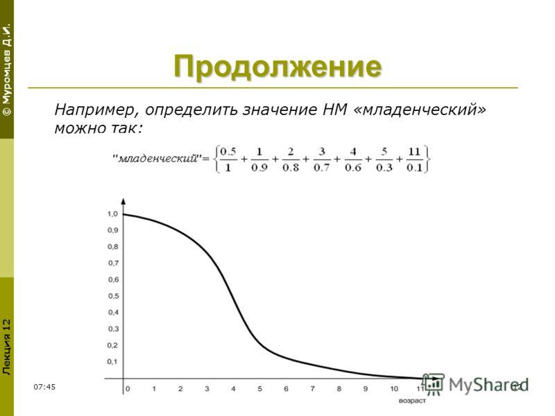 © Муромцев Д.И. Лекция 12 11:5412 Продолжение Например, определить значение НМ «младенческий» можно так: