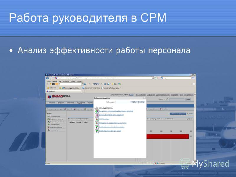 Работа руководителя в СРМ Анализ эффективности работы персонала