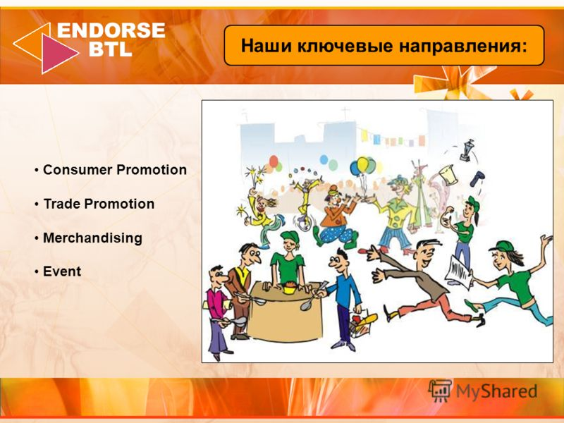 Consumer Promotion Trade Promotion Merchandising Event Наши ключевые направления:
