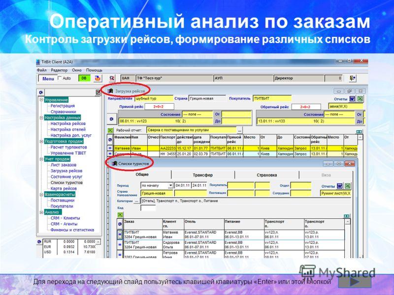 Оперативный анализ по заказам Контроль загрузки рейсов, формирование различных списков Для перехода на следующий слайд пользуйтесь клавишей клавиатуры «Enter» или этой кнопкой
