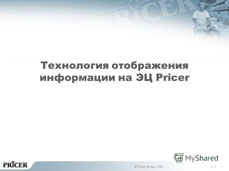 p. 1 Технология отображения информации на ЭЦ Pricer © Pricer Group, 2009