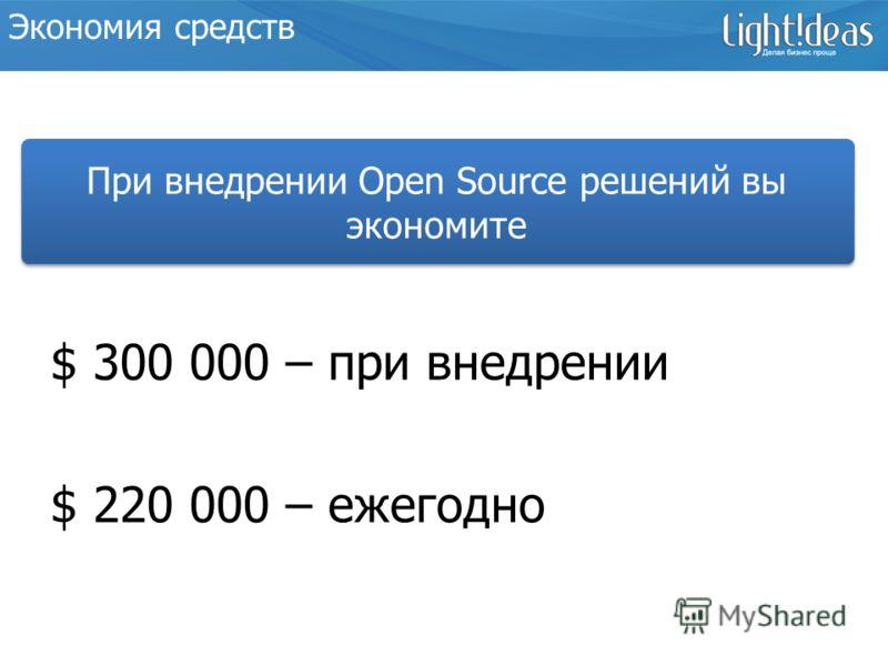 Образец заголовкаЭкономия средств $ 300 000 – при внедрении $ 220 000 – ежегодно При внедрении Open Source решений вы экономите