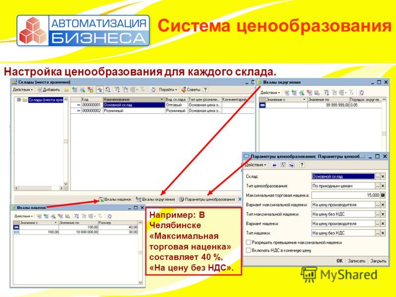 Система ценообразования Настройка ценообразования для каждого склада. Например: В Челябинске «Максимальная торговая наценка» составляет 40 %, «На цену без НДС».