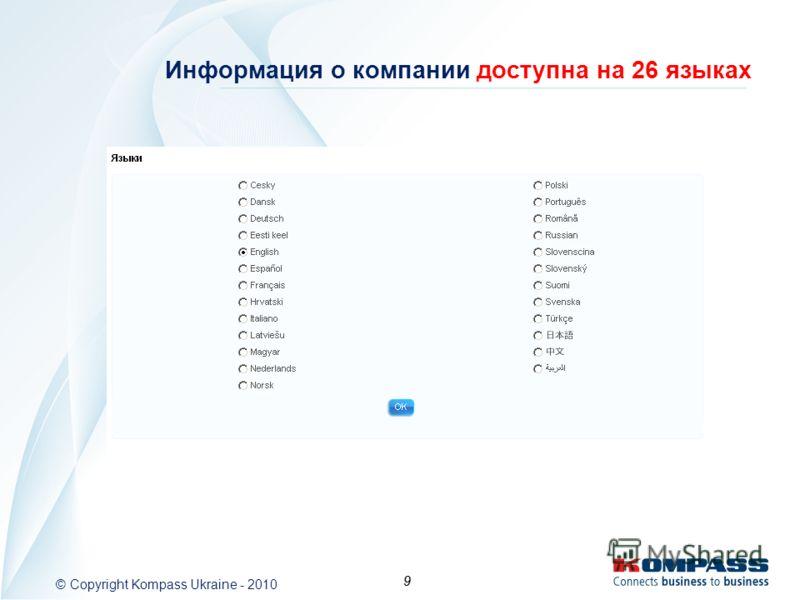 9 9 Информация о компании доступна на 26 языках