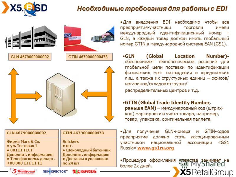 5 Для внедрения EDI необходимо чтобы все предприятия-участники торговли имели международный идентификационный номер – GLN, а каждый товар должен иметь глобальный номер GTIN в международной системе EAN (GS1). GLN (Global Location Number)- обеспечивает