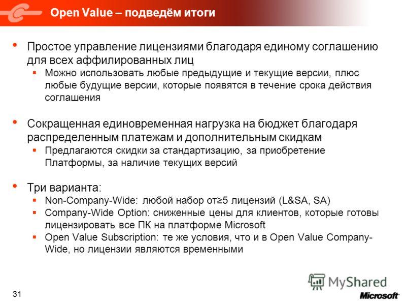 31 Open Value – подведём итоги Простое управление лицензиями благодаря единому соглашению для всех аффилированных лиц Можно использовать любые предыдущие и текущие версии, плюс любые будущие версии, которые появятся в течение срока действия соглашени