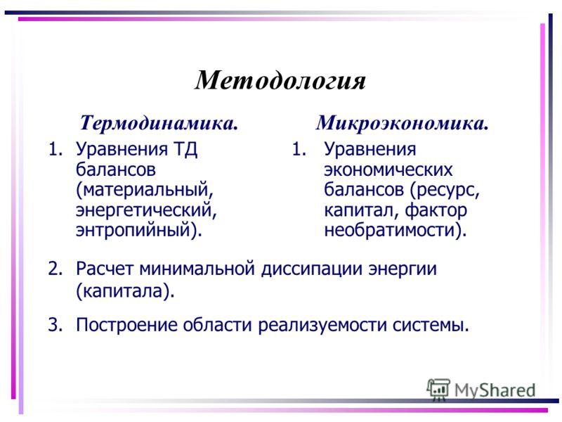 Методология Термодинамика. 1.Уравнения ТД балансов (материальный, энергетический, энтропийный). Микроэкономика. 1.Уравнения экономических балансов (ресурс, капитал, фактор необратимости). 2.Расчет минимальной диссипации энергии (капитала). 3.Построен