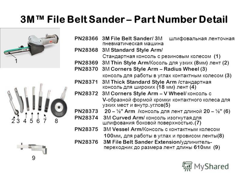 3M File Belt Sander – Part Number Detail PN28366 3M File Belt Sander/ 3 М шлифовальная ленточная пневматическая машина PN28368 3 М Standard Style Arm/ Стандартная консоль с резиновым колесом (1) PN28369 3 М Thin Style Arm/ Косоль для узких (8 мм ) ле