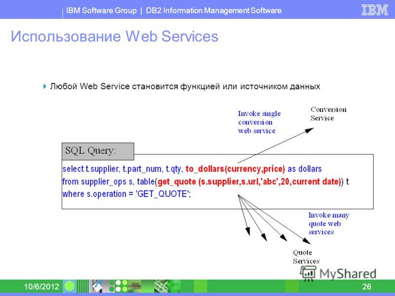 IBM Software Group | DB2 Information Management Software 8/30/201226 Использование Web Services Любой Web Service становится функцией или источником данных