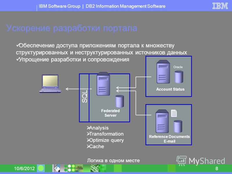 IBM Software Group | DB2 Information Management Software 8/30/20128 Ускорение разработки портала Federated Server Account Status Reference Documents E-mail Обеспечение доступа приложениям портала к множеству структурированных и неструктурированных ис