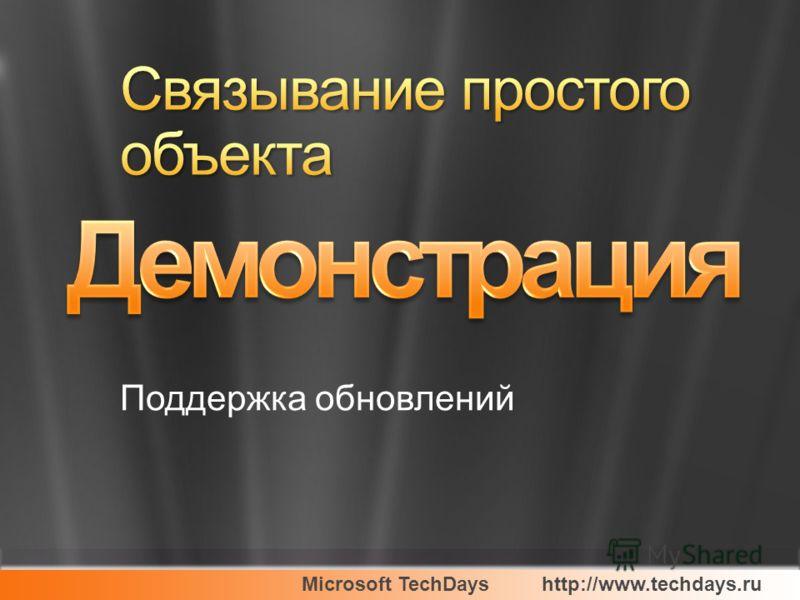 Microsoft TechDayshttp://www.techdays.ru Поддержка обновлений