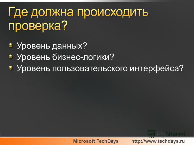 Уровень данных? Уровень бизнес-логики? Уровень пользовательского интерфейса?