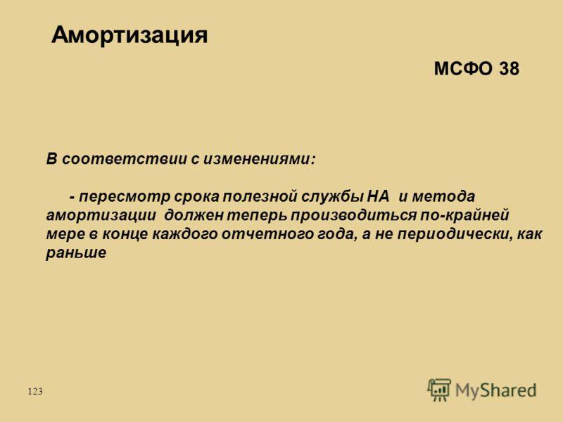 123 Амортизация В соответствии с изменениями: - пересмотр срока полезной службы НА и метода амортизации должен теперь производиться по-крайней мере в конце каждого отчетного года, а не периодически, как раньше МСФО 38