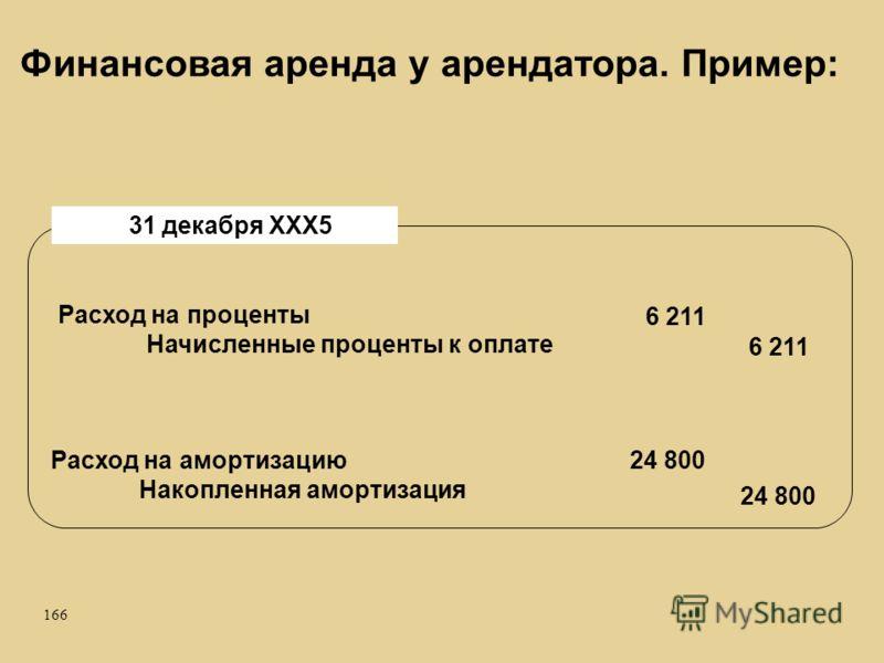 166 Расход на проценты Начисленные проценты к оплате 31 декабря ХХХ5 Расход на амортизацию Накопленная амортизация 6 211 24 800 Финансовая аренда у арендатора. Пример: