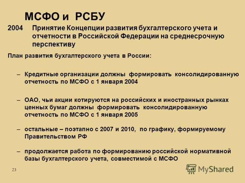 23 МСФО и РСБУ 2004 Принятие Концепции развития бухгалтерского учета и отчетности в Российской Федерации на среднесрочную перспективу План развития бухгалтерского учета в России: –Кредитные организации должны формировать консолидированную отчетность
