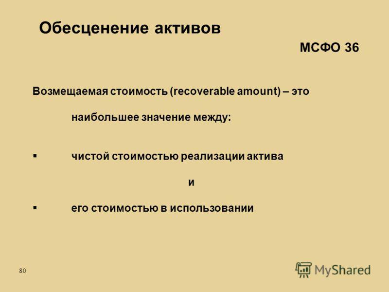 80 Возмещаемая стоимость (recoverable amount) – это наибольшее значение между: чистой стоимостью реализации актива и его стоимостью в использовании Обесценение активов МСФО 36