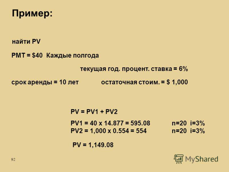 92 Пример: срок аренды = 10 летостаточная стоим. = $ 1,000 PMT = $40 Каждые полгода найти PV PV = 1,149.08 PV = PV1 + PV2 текущая год. процент. ставка = 6% PV1 = 40 x 14.877 = 595.08 PV2 = 1,000 x 0.554 = 554 n=20 i=3%