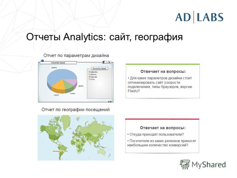 Отчеты Analytics: сайт, география