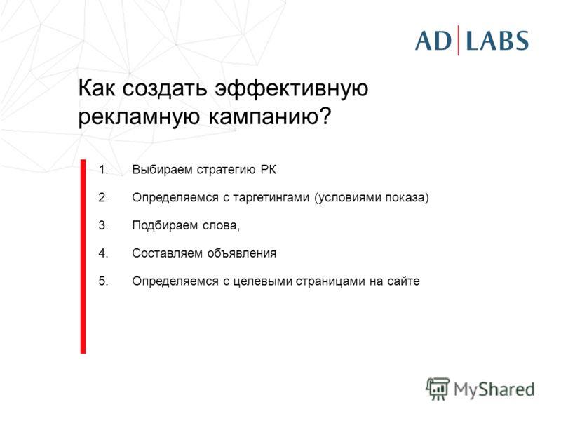 Как создать эффективную рекламную кампанию? 1.Выбираем стратегию РК 2.Определяемся с таргетингами (условиями показа) 3.Подбираем слова, 4.Составляем объявления 5.Определяемся с целевыми страницами на сайте