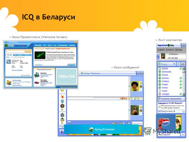 ICQ в Беларуси Окно сообщений Лист контактов Окно Приветствия (Welcome Screen) 180х150