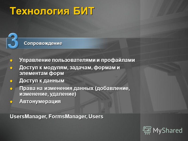 Технология БИТ Управление пользователями и профайлами Управление пользователями и профайлами Доступ к модулям, задачам, формам и элементам форм Доступ к модулям, задачам, формам и элементам форм Доступ к данным Доступ к данным Права на изменения данн