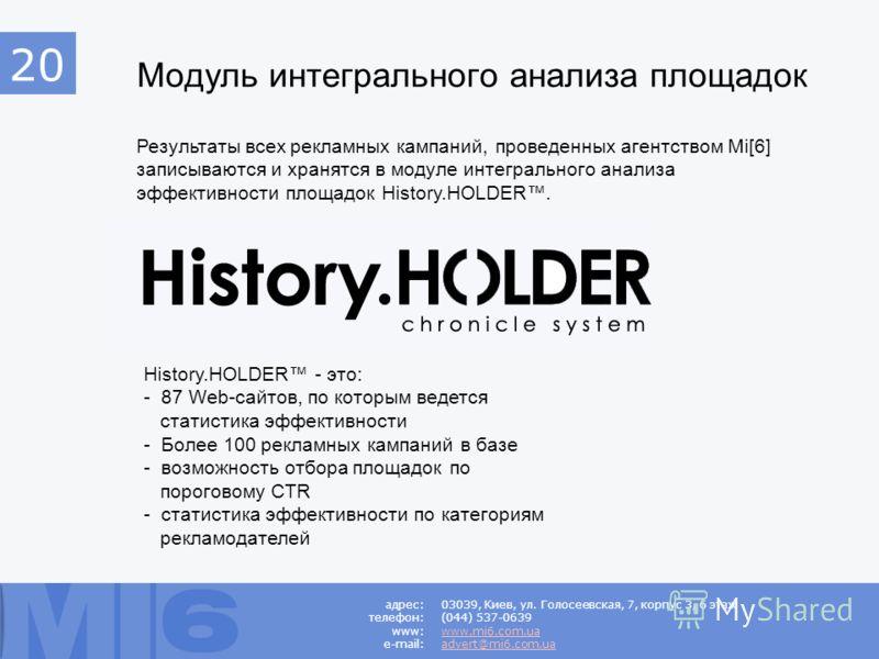 Модуль интегрального анализа площадок Результаты всех рекламных кампаний, проведенных агентством Mi[6] записываются и хранятся в модуле интегрального анализа эффективности площадок History.HOLDER. History.HOLDER - это: - 87 Web-сайтов, по которым вед