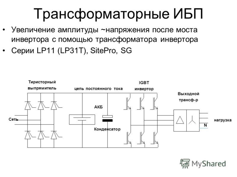 АКБ Конденсатор IGBT инвертор Тиристорный выпрямитель Выходной трансф-р нагрузка Сеть цепь постоянного тока N Увеличение амплитуды ~напряжения после моста инвертора с помощью трансформатора инвертора Серии LP11 (LP31T), SitePro, SG Трансформаторные И