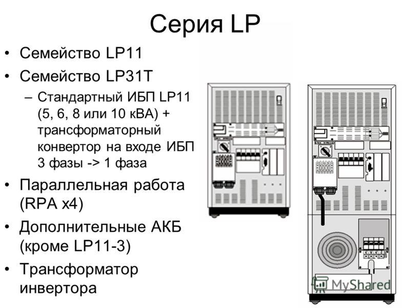 Серия LP Семейство LP11 Семейство LP31T –Стандартный ИБП LP11 (5, 6, 8 или 10 кВА) + трансформаторный конвертор на входе ИБП 3 фазы -> 1 фаза Параллельная работа (RPA x4) Дополнительные АКБ (кроме LP11-3) Трансформатор инвертора