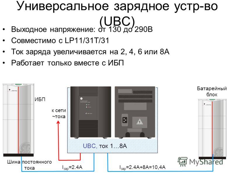 Универсальное зарядное устр-во (UBC) Выходное напряжение: от 130 до 290В Совместимо с LP11/31T/31 Ток заряда увеличивается на 2, 4, 6 или 8А Работает только вместе с ИБП UBC, ток 1…8A ИБП I зар =2.4АI зар =2.4А+8А=10,4А Батарейный блок Шина постоянно