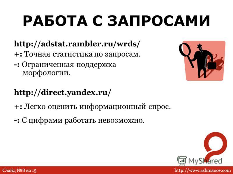 http://www.ashmanov.comСлайд 8 из 15 РАБОТА С ЗАПРОСАМИ http://adstat.rambler.ru/wrds/ +: Точная статистика по запросам. -: Ограниченная поддержка морфологии. http://direct.yandex.ru/ +: Легко оценить информационный спрос. -: С цифрами работать невоз