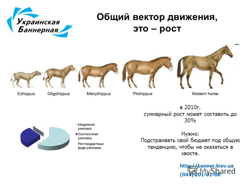 http://banner.kiev.ua (044) 201-01-08 Общий вектор движения, это – рост в 2010г. суммарный рост может составить до 30% Нужно: Подстраивать свой бюджет под общую тенденцию, чтобы не оказаться в хвосте.