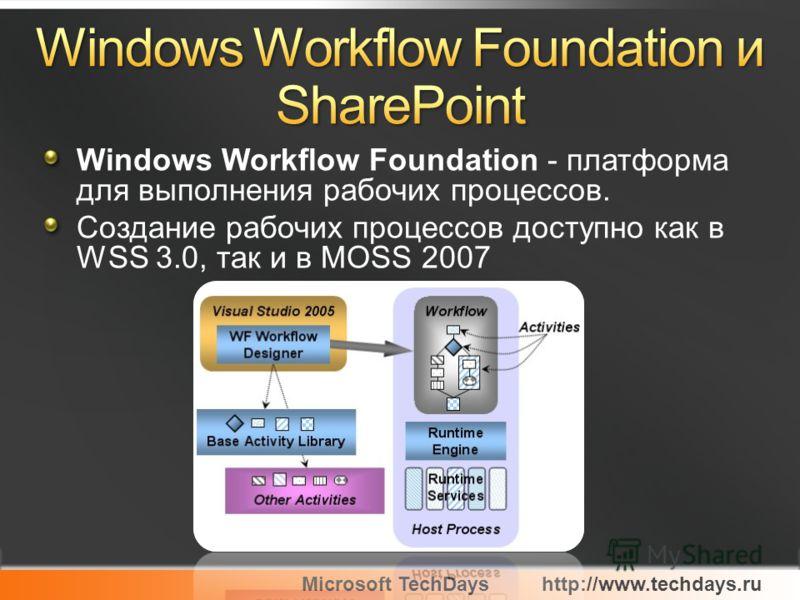 Microsoft TechDayshttp://www.techdays.ru Windows Workflow Foundation - платформа для выполнения рабочих процессов. Создание рабочих процессов доступно как в WSS 3.0, так и в MOSS 2007
