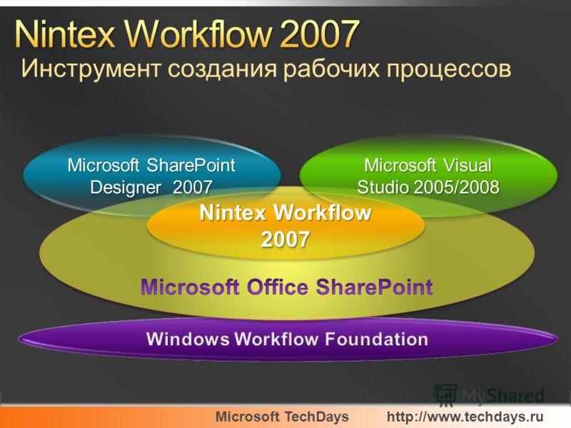 Microsoft TechDayshttp://www.techdays.ru Microsoft Visual Studio 2005/2008 Microsoft SharePoint Designer 2007 Nintex Workflow 2007