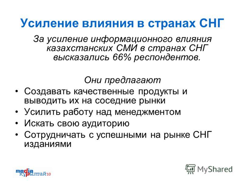 Усиление влияния в странах СНГ За усиление информационного влияния казахстанских СМИ в странах СНГ высказались 66% респондентов. Они предлагают Создавать качественные продукты и выводить их на соседние рынки Усилить работу над менеджментом Искать сво