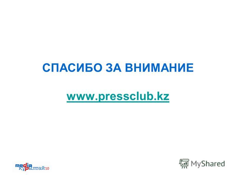 СПАСИБО ЗА ВНИМАНИЕ www.pressclub.kz www.pressclub.kz