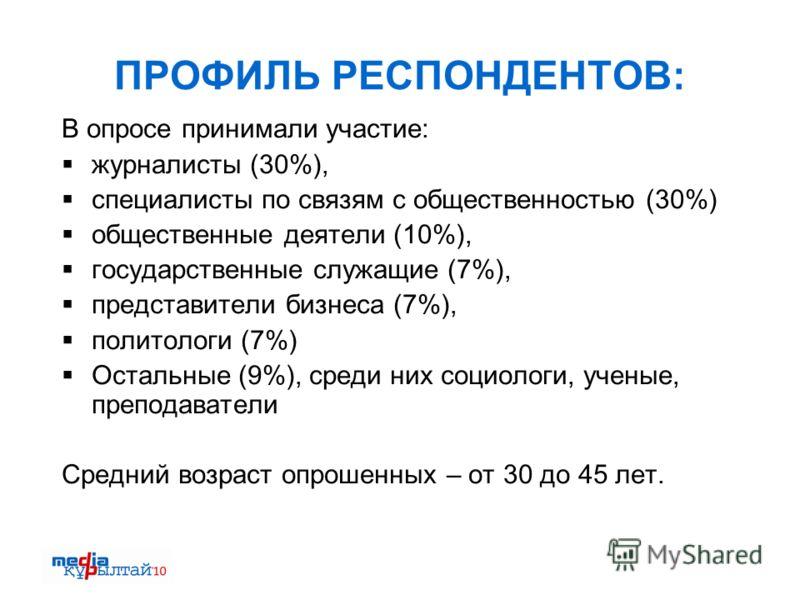 ПРОФИЛЬ РЕСПОНДЕНТОВ: В опросе принимали участие: журналисты (30%), специалисты по связям с общественностью (30%) общественные деятели (10%), государственные служащие (7%), представители бизнеса (7%), политологи (7%) Остальные (9%), среди них социоло