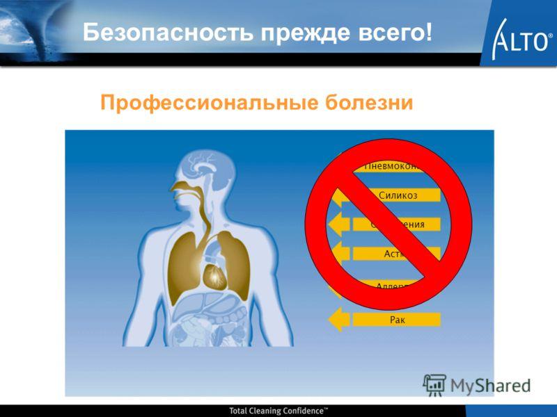 Пневмокониоз Силикоз Отравления Астма Аллергия Рак Безопасность прежде всего! Профессиональные болезни