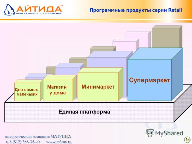 Единая платформа Программные продукты серии Retail Минимаркет Магазин у дома Для самых маленьких 34 Супермаркет