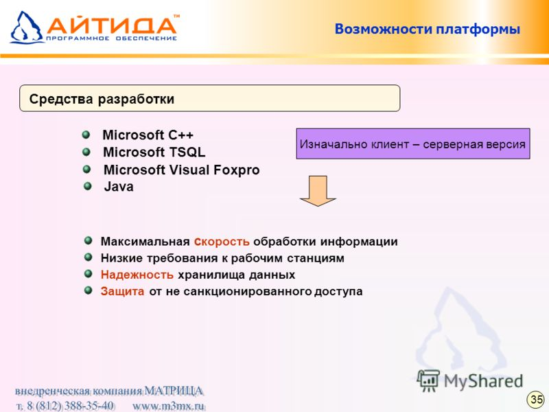 Возможности платформы Средства разработки Microsoft C++ Изначально клиент – серверная версия Microsoft TSQL Microsoft Visual Foxpro Java Максимальная с корость обработки информации Низкие требования к рабочим станциям Надежность хранилища данных Защи