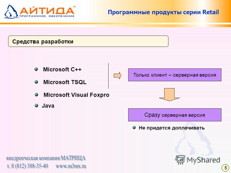 Программные продукты серии Retail Средства разработки Microsoft C++ Только клиент – серверная версия Microsoft TSQL Microsoft Visual Foxpro Java Сразу серверная версия Не придется доплачивать 5