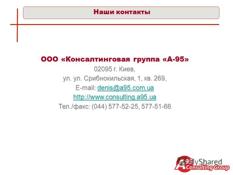 Наши контакты ООО «Консалтинговая группа «А-95» 02095 г. Киев, ул. ул. Срибнокильская, 1, кв. 269, E-mail: denis@a95.com.ua denis@a95.com.ua http://www.consulting.a95.ua Тел./факс: (044) 577-52-25, 577-51-66