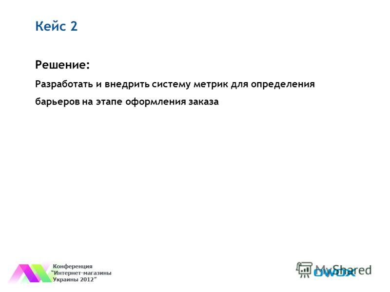 Кейс 2 Решение: Разработать и внедрить систему метрик для определения барьеров на этапе оформления заказа